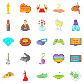 Weekend icons set cartoon style