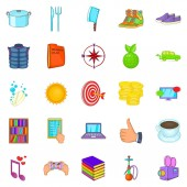 Tan icons set cartoon style