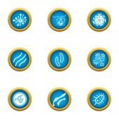Bacterial intervention icons set flat style