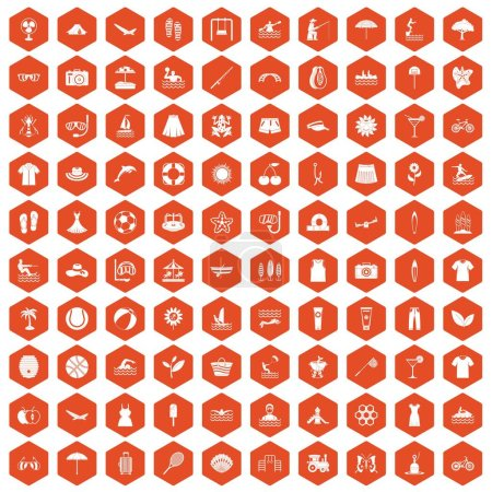 Illustration pour 100 icônes estivales en illustration vectorielle isolée hexagone orange - image libre de droit