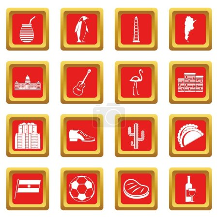 Illustration for Argentina travel items icons set in red color isolated vector illustration for web and any design - Royalty Free Image