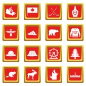 Canada travel icons set red