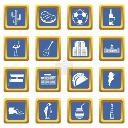 Illustration for Argentina travel items icons set in blue color isolated vector illustration for web and any design - Royalty Free Image