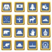 Canada travel icons set blue