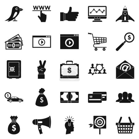 Digital success icons set, simple style