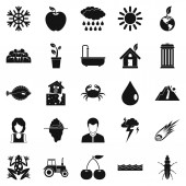 Variety of species icons set simple style