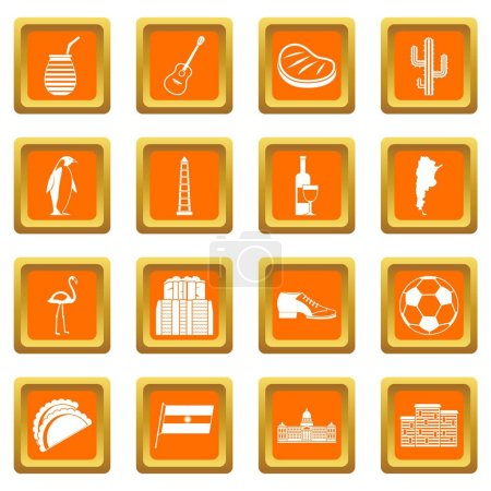 Illustration for Argentina travel items icons set in orange color isolated vector illustration for web and any design - Royalty Free Image