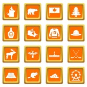 Canada travel icons set orange
