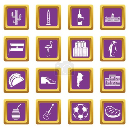 Illustration for Argentina travel items icons set in purple color isolated vector illustration for web and any design - Royalty Free Image