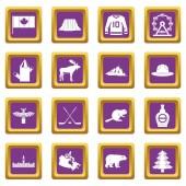 Canada travel icons set purple
