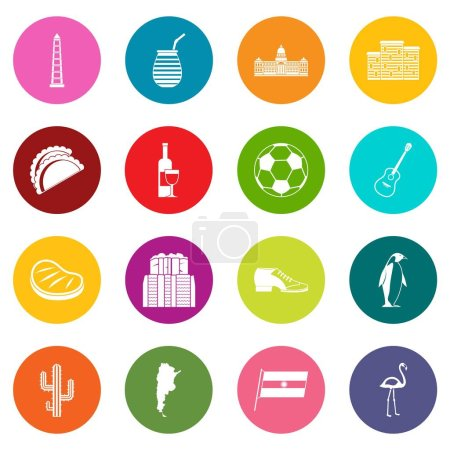 Illustration for Argentina travel items icons many colors set isolated on white for digital marketing - Royalty Free Image