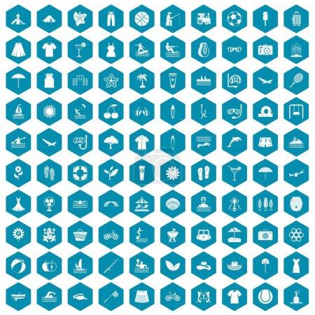 Illustration pour 100 icônes d'été dans l'illustration vectorielle isolée de l'hexagone de saphirine - image libre de droit