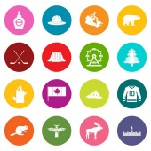 Canada travel icons many colors set