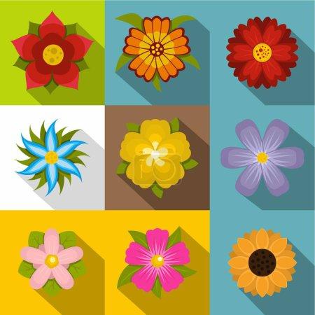 Illustration pour Fleurs d'été icônes ensemble. Ensemble plat de 9 icônes vectorielles de fleurs d'été pour toile isolée sur fond blanc - image libre de droit