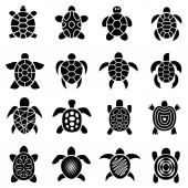 Turtle logo top view icons set simple style
