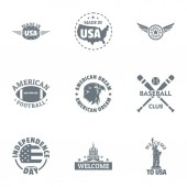 USA baseball logo set simple style