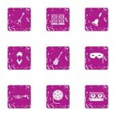 Music listening icons set grunge style