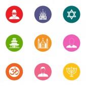 Religious zealot icons set flat style