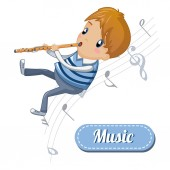 Boy play at flute concept background cartoon style
