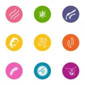 Sickness icons set flat style