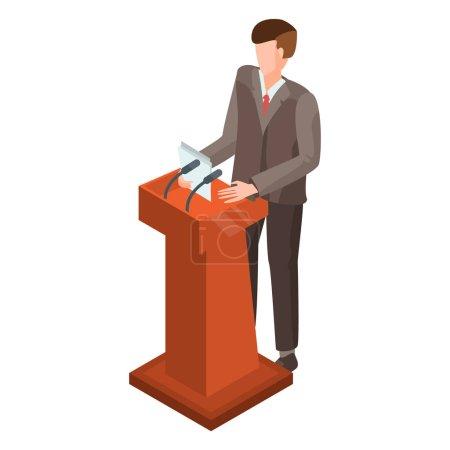 Man at political debate icon. Isometric of man at ...
