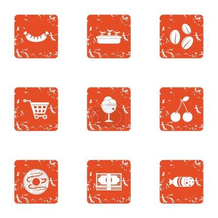 Acquisition icons set, grunge style