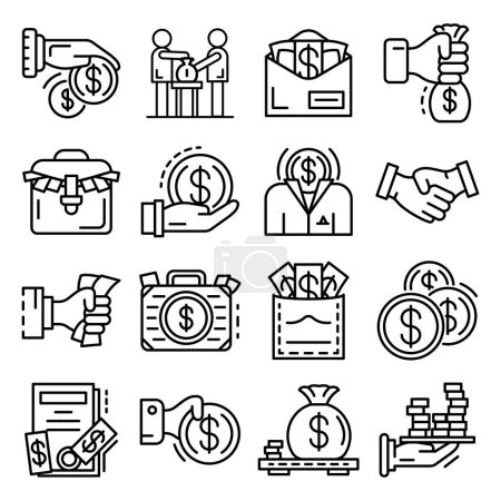 Bribery icon set outline style