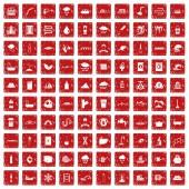 100 water supply icons set grunge red