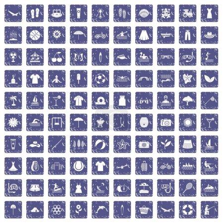Illustration pour 100 icônes d'été dans le style grunge couleur saphir isolé sur fond blanc illustration vectorielle - image libre de droit