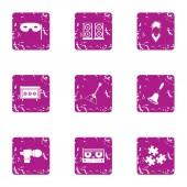 Rock euphony icons set grunge style