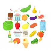 Grow vegetables icons set cartoon style