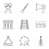 Piece of music icons set outline style