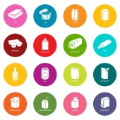 Package types icons set colorful circles vector