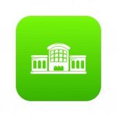 Railway station icon green vector