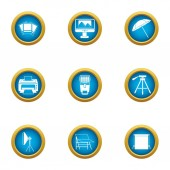 Paper workplace icons set flat style
