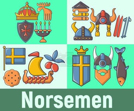Norsemen concept banner. Cartoon banner of norseme...