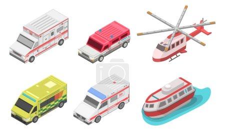 Ambulance icon set, isometric style