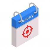 Calendar january target month icon isometric style