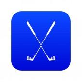 Two golf clubs icon digital blue