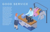 Good laundry service concept background isometric style