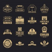 Heating cooling logo icons set simple style