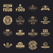 Asian food logo icons set simple style