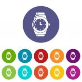 Wristwatch icons set vector color