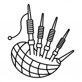 Folk bagpipes icon outline style