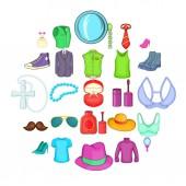 Adornment icons set cartoon style