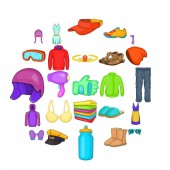 Accessories icons set cartoon style