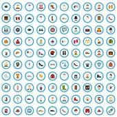 100 clothing journal icons set flat style