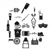 Fishery icons set simple style
