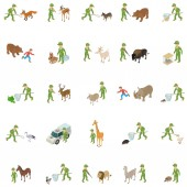 Capture wild animal icons set isometric style