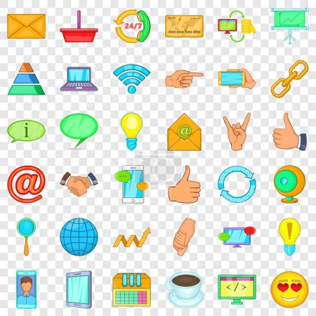 Photo for Connection network icons set. Cartoon style of 36 connection network vector icons for web for any design - Royalty Free Image